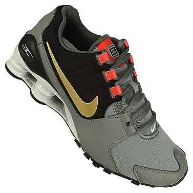 5c1d55e120cb Nike Mens Shox Avenue Cool Grey Metallic Gold Max Orange Black Leather  Running