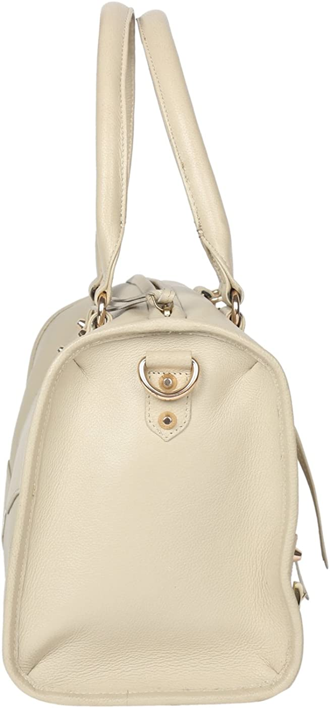 Jl Collections Womens Leather White Shoulder Bag