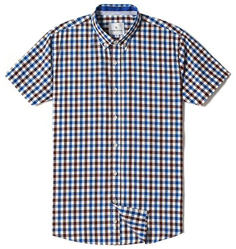 MOCOTONO Mens Short Sleeve Check Button-Down Collar Casual Plaid Shirt Blue White Coffee X-Large