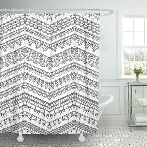 Emvency Shower Curtain Lace of Crochet Lacy Edges Sketched Zigzag Knitted Patterns Shower Curtains Sets with Hooks 72 x 72 Inches Waterproof Polyester Fabric