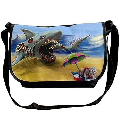 d531d75997fa Amazon.com: Canvas Crossbody Shoulder Messenger Bag Shark And Old ...