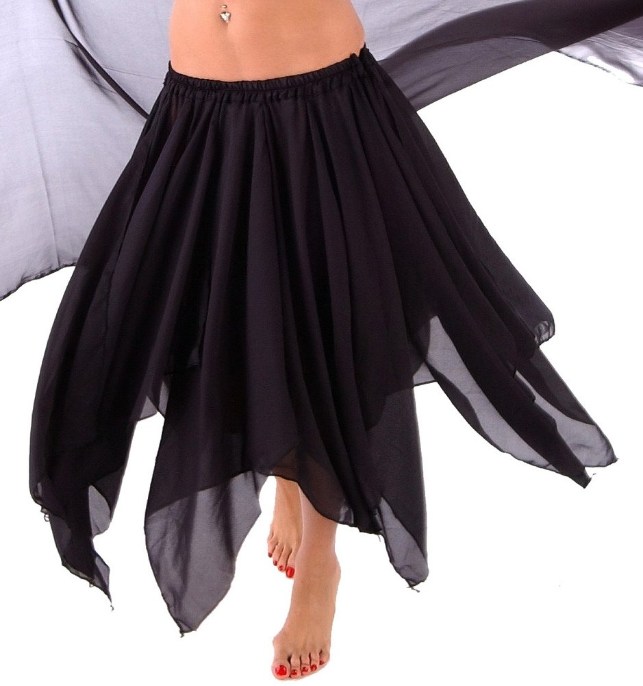 BELLY DANCE ACCESSORIES 13 PANEL CHIFFON SKIRT Black One Size by Miss Belly Dance
