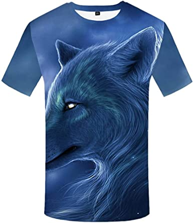Luotears 3D Camiseta Camisa de Nieve montaña Selva Animal Oscuro impresión Lobo Solitario Fresco Arma Masculina Verano: Amazon.es: Ropa y accesorios