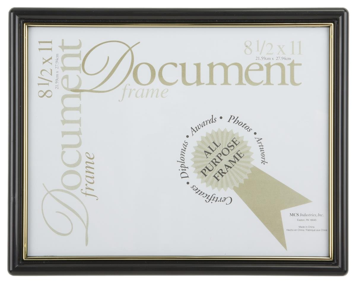 Displays2go Gold Accent Black Frame for 8-1/2 x 11-Inch Documents, Wall-Mounted - Sold in Sets of 12