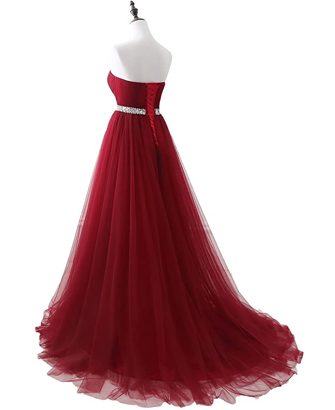 Ruisha Womens Strapless Soft Tulle Dark Red Prom Dress Hand Beading Sash Party Dresses - Red -: Amazon.co.uk: Clothing
