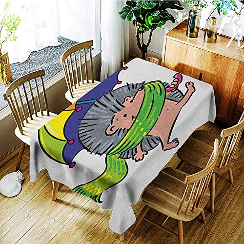 XXANS Rectangular Tablecloth,Hedgehog,Smiling Animal with Spikes and Scarf Rainbow Colored Umbrella Walking Winter Theme,Table Cover for Dining,W60x120L Multicolor