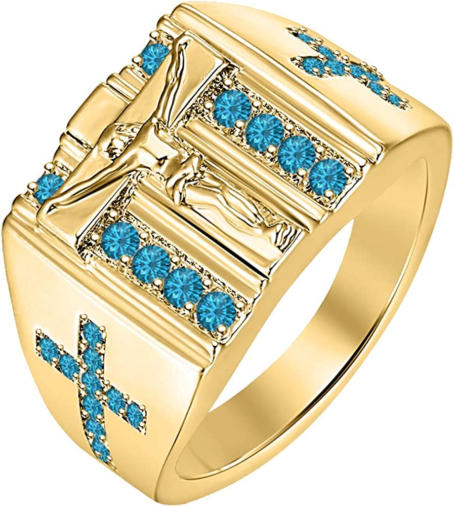 RUDRAFASHION Mens Religious Jewelry Round Cut Gemstone 14k Yellow Gold Over 925 Sterling Silver Jesus Cross Dome Ring
