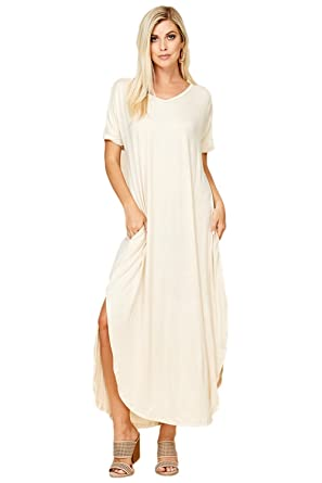 1201695c5d Women s Long Split Maxi Dress Casual Loose V Neck Short Sleeve Beach with  Pockets - Beige