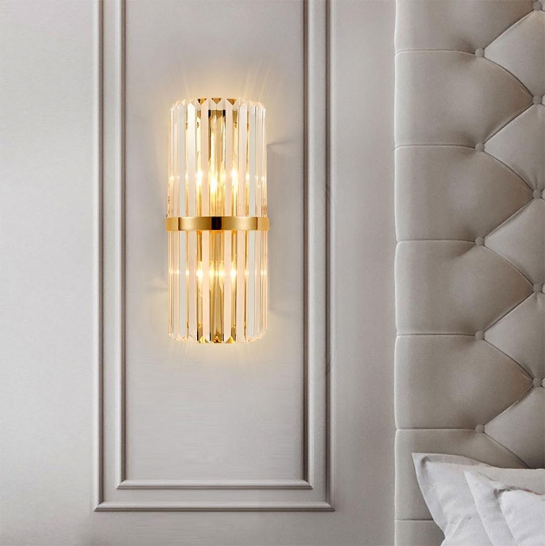 Promoción por tiempo limitado BENJUNNórdico Postmodernista Creativo Simple Cristal Luz de pared Lámpara de cabecera Dormitorio Luces de la sala de estar Europea Pasillo Luz de la escalera Lámpara de pared LED