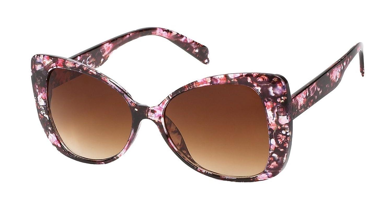 Lunette élégante fantaisie-7854 motif rose, verre marron