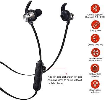 Auriculares Bluetooth magnéticos con Reproductor de MP3, Bluetooth 5.0,Anti-Sudor IPX5,Apto para conducción y Uso Deportivo, Auriculares Bluetooth Deportivos para Smartphone iPhone Android (Negro): Amazon.es: Electrónica