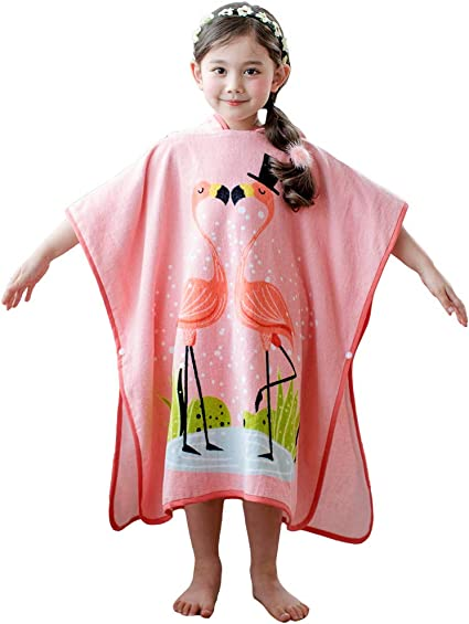 Children Kids Boys Girls Hooded Animal Style Poncho Swim Beach Bath Towel