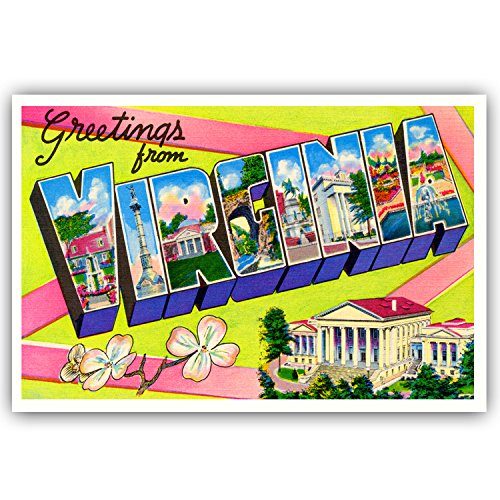 (GREETINGS FROM VIRGINIA vintage reprint postcard set of 20 identical postcards. Large letter US state name post card pack (ca. 1930's-1940's). Made in USA.)
