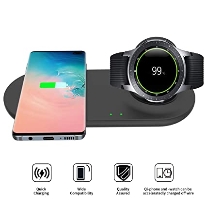 EloBeth Compatible with Samsung Galaxy Watch Wireless Charger Duo Fast Charge Stand & Pad for Qi Enabled Phones & Galaxy Watch 42mm 46mm (No Adapter)