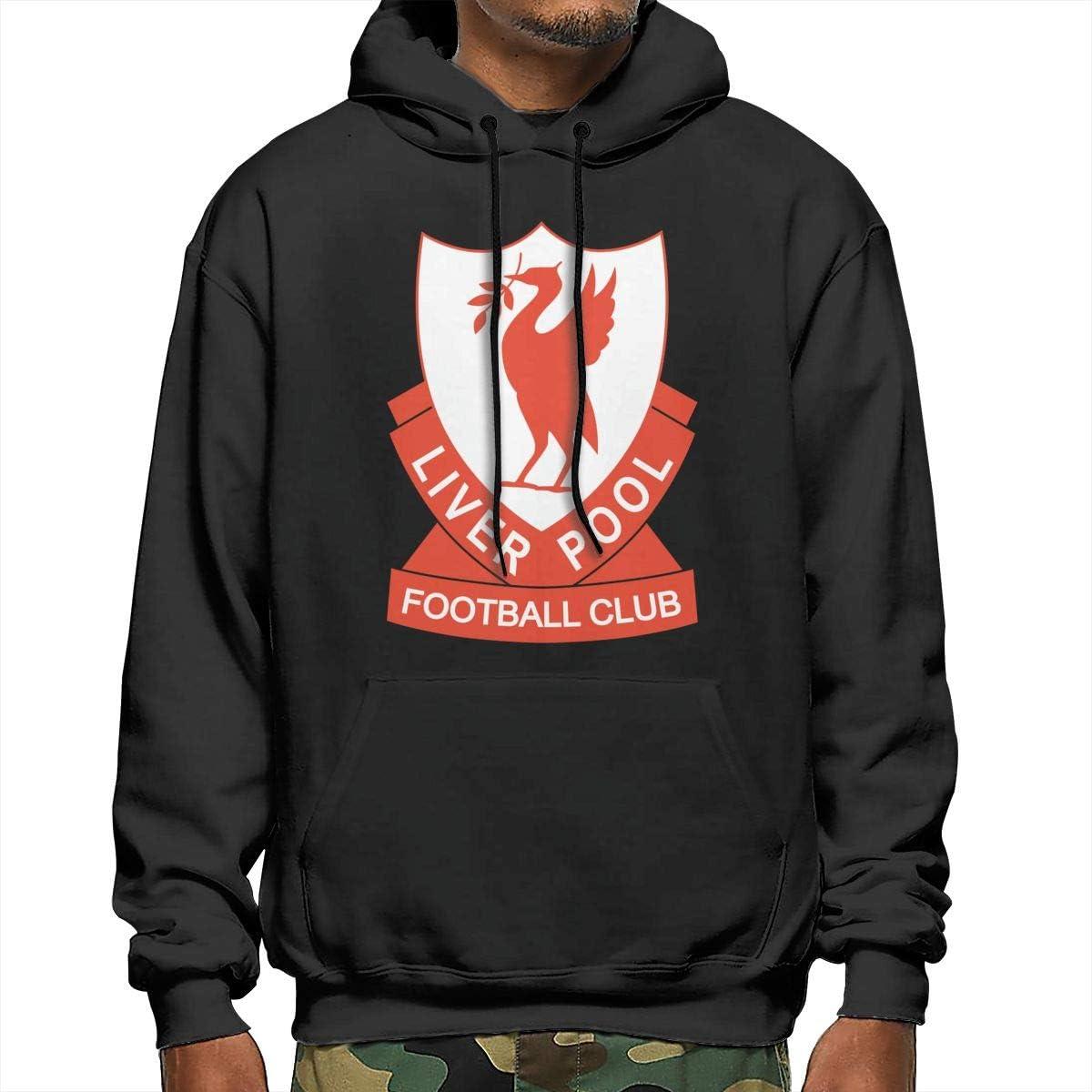 Takeyia Mens Liverpool-Fc Hoodies Wild for Adult Man Hooded Sweater Black Hoodies