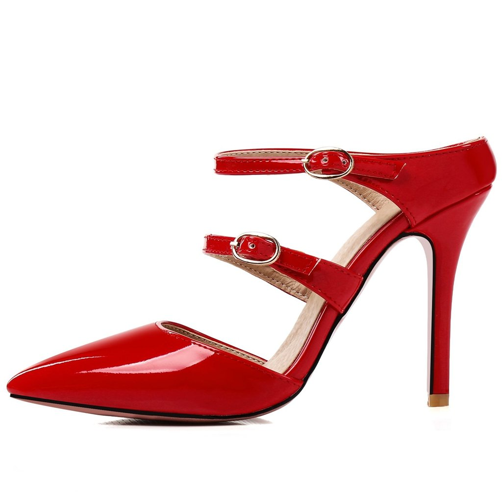 f9e45e6e8a1 Kaloosh Women s Sexy Pointed Toe Patent Leather Stiletto High Heel Duble  Bukle Strap Mules Party Court Shoes  Amazon.co.uk  Shoes   Bags