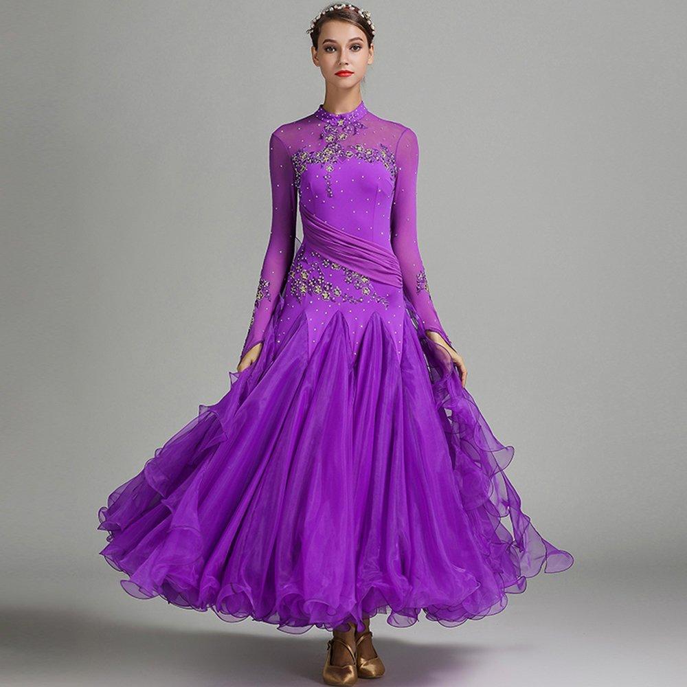現代の女性の大きな振り子の手刺繍タンゴとワルツダンスドレスダンスコンペティションスカート長袖ラインストーンダンスコスチューム B07HHWBVZZ Medium|Purple Purple Medium