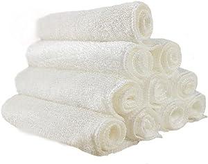 Ziyier G&E :10-Pack Bamboo Fiber Dish Wash Cloth/Clean Towel for Kitchen (White Color/Random Color) (White, 16cm X 18cm)