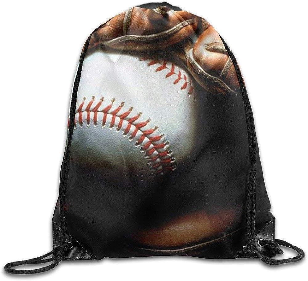 Unisex Drawstring Bags Baseball Team Training Travel Backpack Sack Daypack