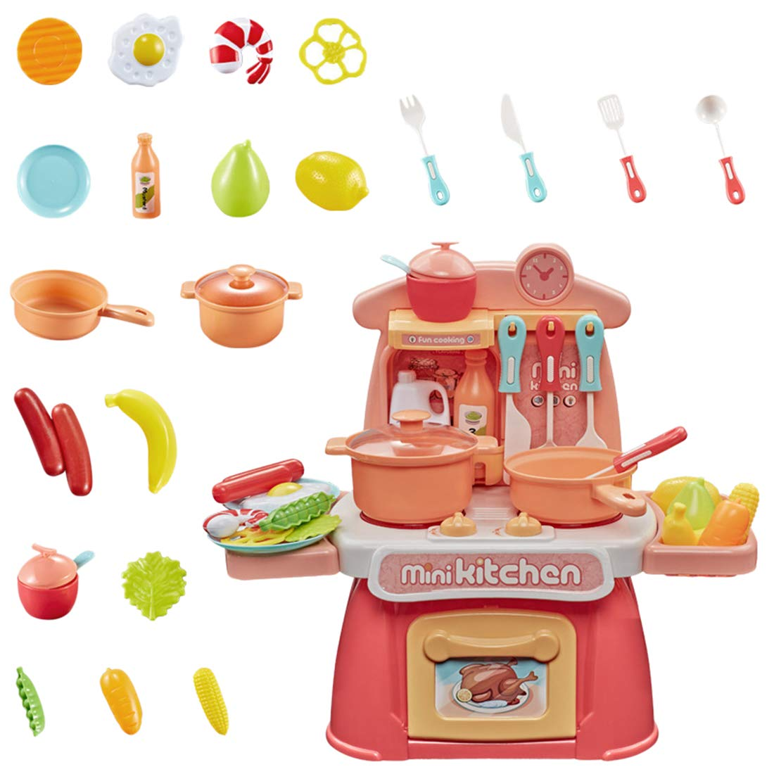 26 Piezas Divertido Set de cocinitas de Juguetes Completo Tosbess Cocina Infantil y Comida de Juguete con Efecto Sonidos Luminoso Ideal Juguetes ni/ños 3 a/ños y m/ás