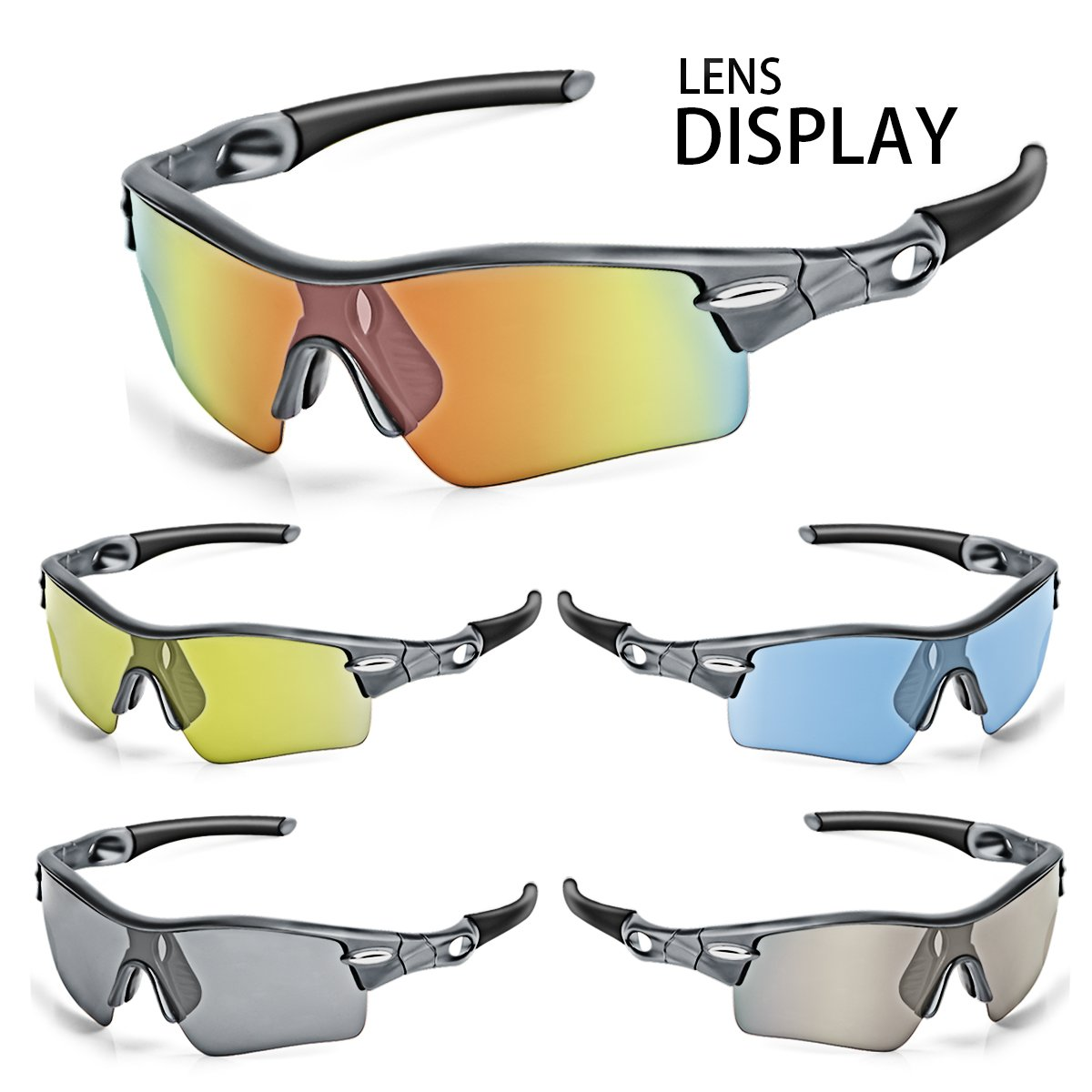 WONGKUO Polarized Outdoor Sports Glasses Men Women Cycling Sunglasses With 5 Interchangeable Lenses 100%UV Protection Fits for Fishing Running Golf Baseball Cycling Driving And All Outdoor Activities