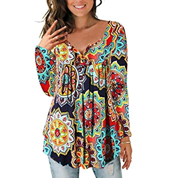 463dd88d853fc5 lotus.flower Women Casual Daily Button Printed Ladies Fashion Long Sleeve  Blouse Shirt Tops (