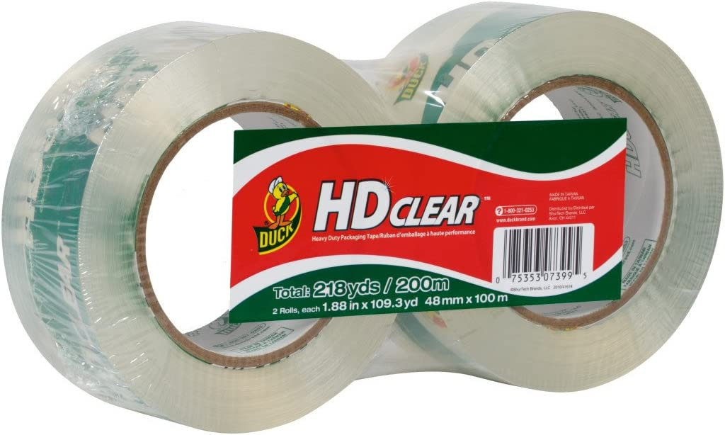 - 1 1.88 Inch x 54.6 Yard, 2 Rolls Duck HD Clear Heavy Duty Packing Tape with Dispenser 393184