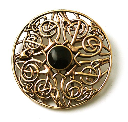 LynnAround Vintage brooches Bronze Norse Filigree Celtic Knot Black Stone Thailand Jewelry (Brooch)