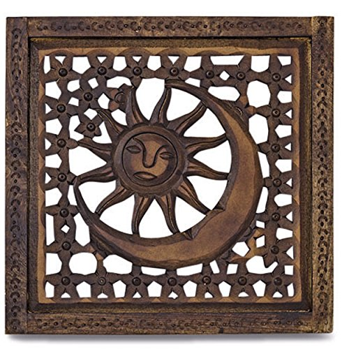 WHW Whole House Worlds Global Chic Sun, Moon and Stars Art Panel, Hand Carved Sustainable Mango Wood, 21 3/4 Inches (55 x 57 cm) Square, 3/4 Inch Profile, Decorative Screen