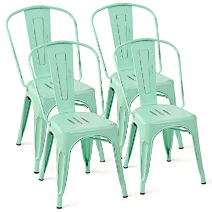 Costway Tolix Style Dining Chairs Metal Industrial Vintage Chic High Back  Indoor Outdoor Dining Bistro Café