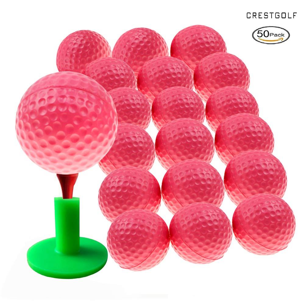 Crestgolf Foam Sponge Practice Golf Ball Soft Balls for Cats Kids 12/50 pcs per Bag (Pink 50pcs) by Crestgolf