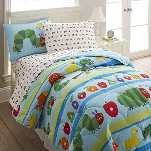 Wildkin Lightweight Twin Comforter Set, 100% Cotton Twin Comforter with Embroidered Details, Includes One Matching Sham, Coordinates with Other Room Décor – The Very Hungry Caterpillar