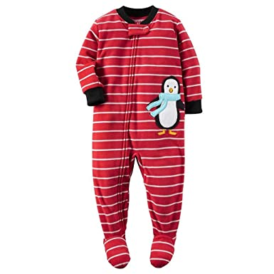 687773d43 Amazon.com  Carter s Boy s 5T Red Striped Penguin Fleece Footed ...