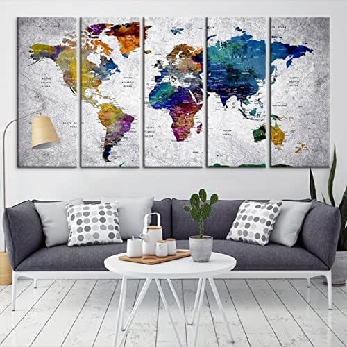 Modern Large Dark Blue Wall Art World Map on Gray Backgorund Canvas Print for Home Decor - Wall Art Canvas Print for Office and Living Room Decoration - Ready to Hang - FRAMED