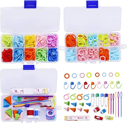 Colourful Stitch Holders Markers Plastic Locking for Crochet Knitting Hook Clip