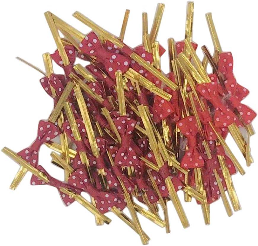 Baoblaze 50 Pezzi Metallici Legami di Torsione Papillon Metallico Twist per Sacchetti di Caramelle Borse di Pane Borse per Biscotti Cravatte da Regalo Gruppo 1