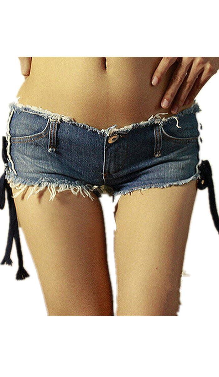 aa841b577f13 Lingswallow Women's Sexy Low Waist Cut Off Denim Short Shorts Mini Hot  Pants at Amazon Women's Clothing store: