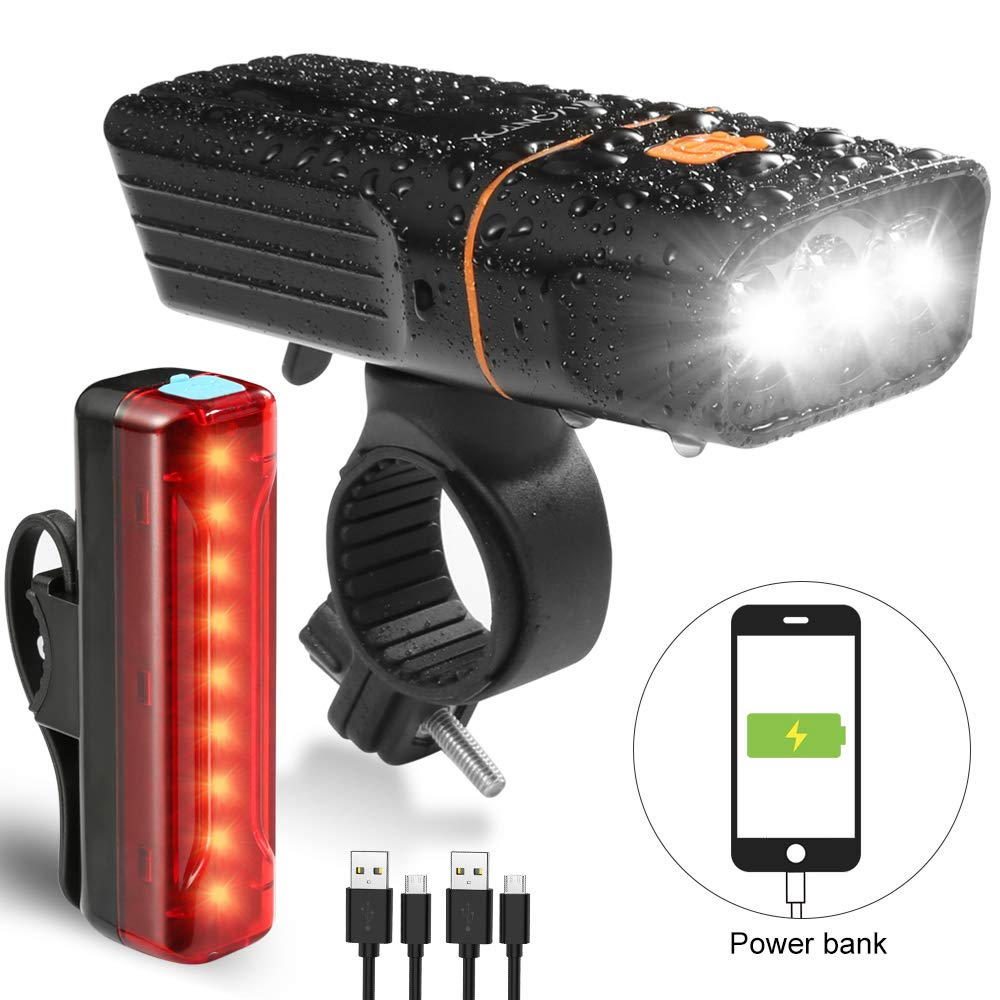 V VONTOX Bike Light Set Waterproof Rechargeable 5200mah Lithium Battery, 3 Light Mode Options.Super Bright Front Headlight and Rear LED Bicycle Light, Long Standby Time.