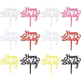 obmwang 12 Pack Acrylic Cake Topper Happy Birthday Cake Topper Colorful Cake Decorations for Birthday Party Supply, 6…