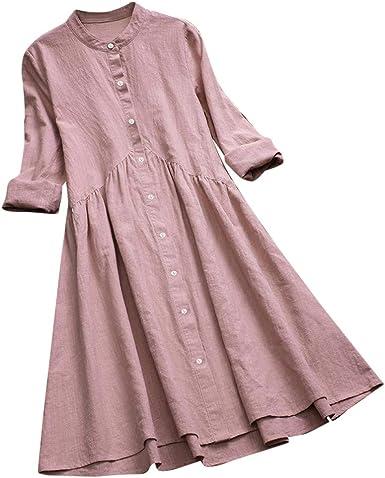 COZOCO Camisa Blusa Vintage para Mujer Vestido túnica Vestido Largo con Cuello Redondo Botón Plisado Manga Larga Casual Mini Vestido Camisa Elegante: Amazon.es: Ropa y accesorios