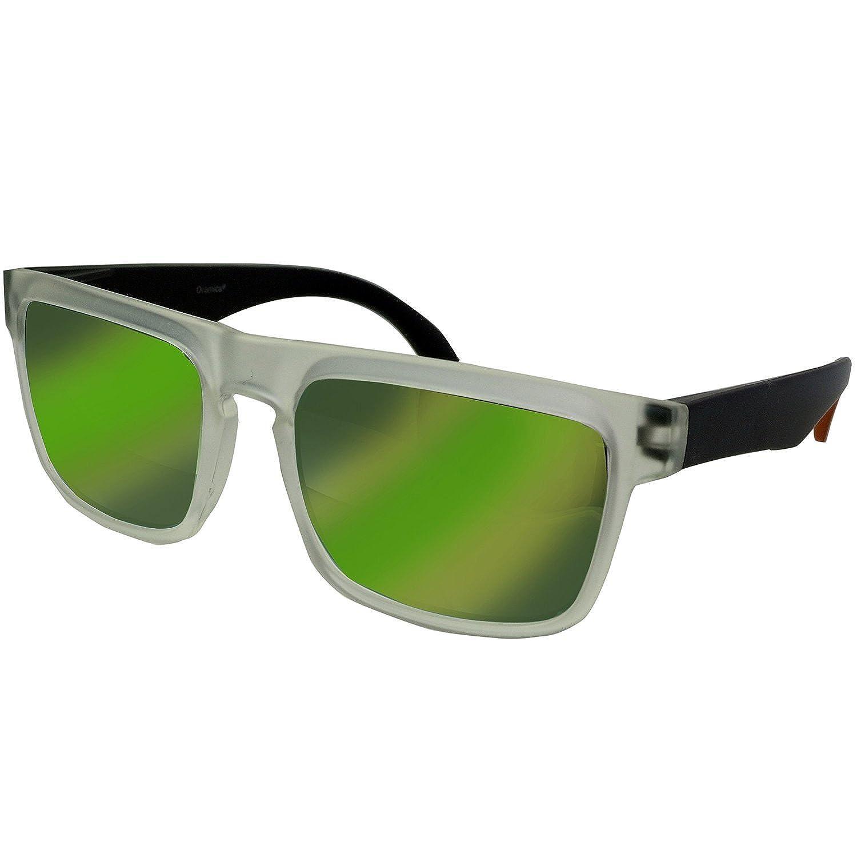 Oramics Flashige Hipster Nerd Sonnenbrille in stylischem Schwarz Weiss Kontrast für Individualisten - Grüne Gläser