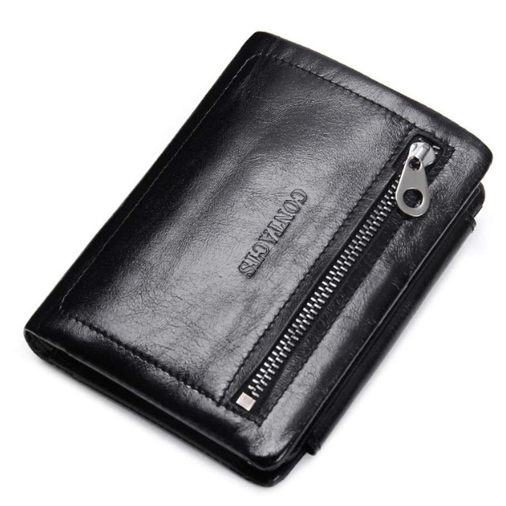 Color : Black, Size : S MY Wallet Leather Fashion Casual Three Fold Oil Wax Leather Wallet with Zipper Decoration for Men