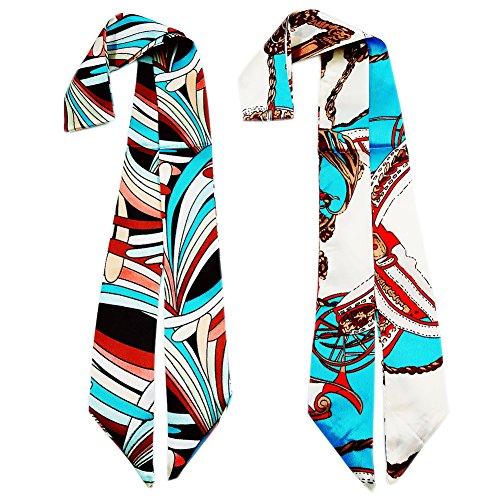 (Skinny Neckerchief Scarf for Handbag Handle Silk Scarf Bracelet for Women by Bellagione (Tiffany))
