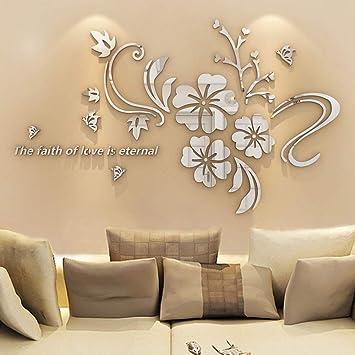 12x 3d flower art mirror wall sticker decal mural diy home room acrylic decor;