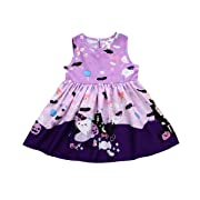 XiaoReddou Baby Girls Halloween Dress Cartoon Ghost Sleeveless Skirt (Light Purple, 1-2 Years)