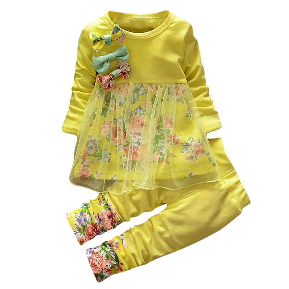 ❤️Mealeaf❤️ Toddler Kids Baby Girls Yellow Light Green Pink Hot Pink 4 Colors Floral Clothes T-Shirt Tops Princess Dress Pants 2PCS Outfits Set (2-3 Years Old, Pink) meal-leaf