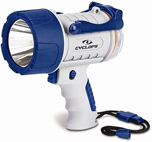 Cyclops 300 Lumen Rechargeable Waterproof Marine Style Spotlight, White Blue