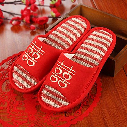 Estate fankou uomini e donne giovane marito e moglie pantofole rosso sposa e lo sposo nozze pantofole di cotone ,42-44, estate femmina di lino