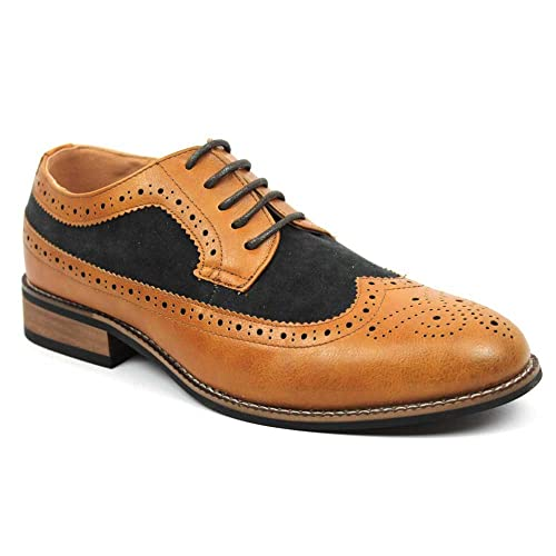 AZAR MAN New Men's Wing Tip Brogue Suede Leather Lace Up Modern Dress Shoes  6.5 U.S