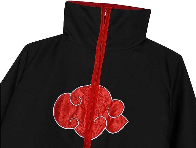 iiniim Capa Negro Bordado Rojo Nube Disfraz Team Taka Abrigo Largo ...